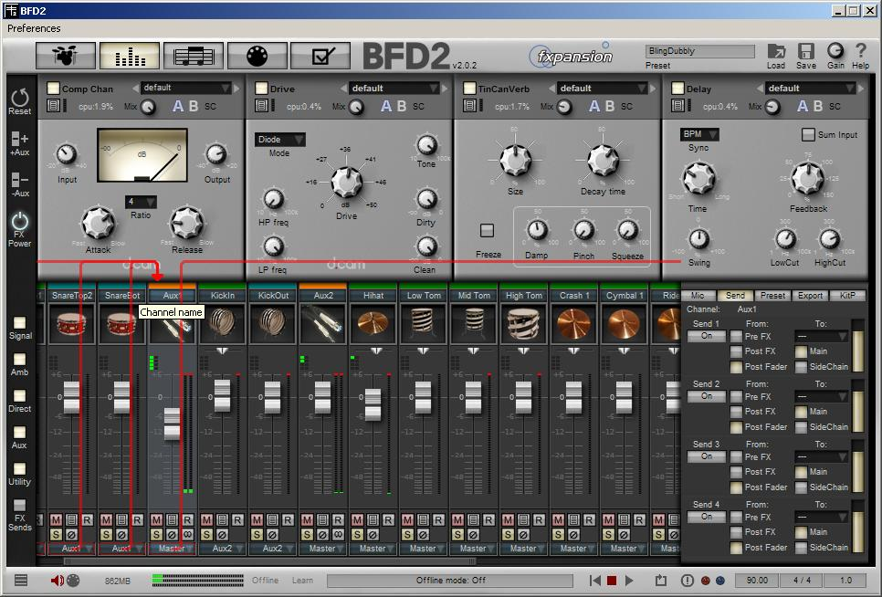 Test de bfd 2 de fxpansion le retour du roi audiofanzine - Table de mixage virtuel a telecharger gratuitement ...