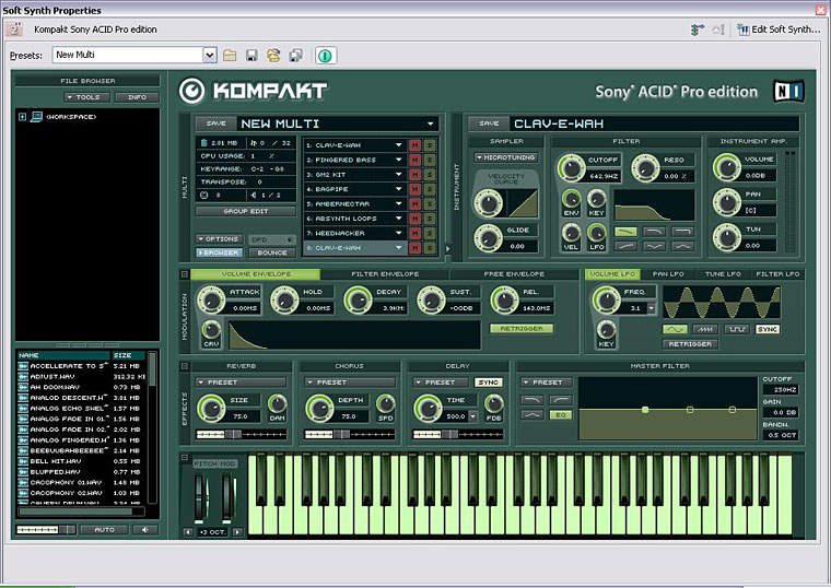 NI's Kompakt, with its 2GB sample library, is a nice addition to Acid.