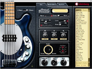 L'interface principale du Virtual Bassist de Steinberg